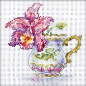 RTO Cross Stitch Kit - Miniature Orchid Cup Tea Party