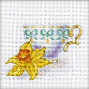 RTO Cross Stitch Kit - Miniature Daffodil Cup Tea Party