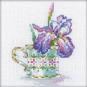 RTO Cross Stitch Kit - Miniature Iris Cup Tea Party