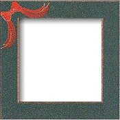 Mill Hill Wood Frame - 6x6 Handpainted Matte Green w/ Red Bow THUMBNAIL