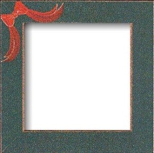 Mill Hill Wood Frame - 6x6 Handpainted Matte Green w/ Red Bow MAIN