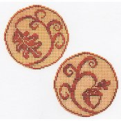 Handblessings - Circle Ornaments - Elegant Oak Leaf and Acorn