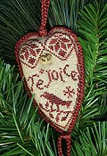 Homespun Elegance - Merry Noel Collection- Quaker Rejoice Heart Ornament (w/Charm)