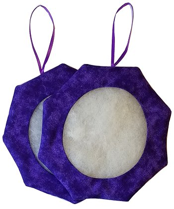 Octagonal Prefinished Ornament - Purple Fabric (Assorted Prints)