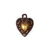 Antique Gold Heart with Vines Charm THUMBNAIL