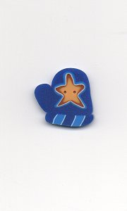 Jabco Button - 4421 Blue Mitten with Star MAIN