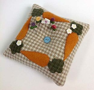 Just Another Button Company - Carrot Tuft Pillow Pincushion MAIN
