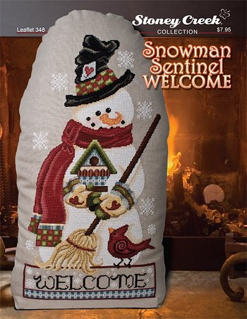 cover of Stoney Creek Christmas cross stitch Leaflet 348 Snowman Sentinel Welcome MAIN