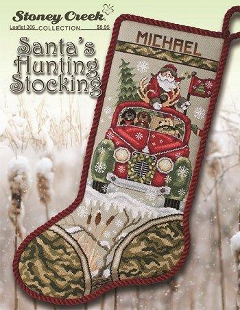leaflet 366 santas hunting stocking - Cross Stitch Christmas Stockings