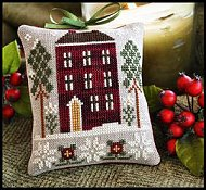 Little House Needleworks - Ornament #6 Red House In Winter THUMBNAIL