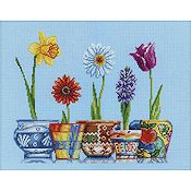 RTO Cross Stitch Kit - Flowerpots THUMBNAIL
