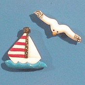 Magnets - Snowmen of the Month - August Sailboat & Seagull MAIN