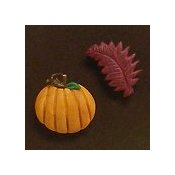 Magnets - Snowmen of the Month - October Pumpkin & Leaf THUMBNAIL