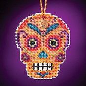 Mill Hill Calavera Charmed Ornaments - Naranja