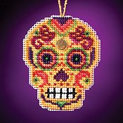 Mill Hill Calavera Charmed Ornaments - Amarillo