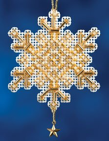 Mill Hill Snow Crystals Charmed Ornaments - Gold Crystal MAIN