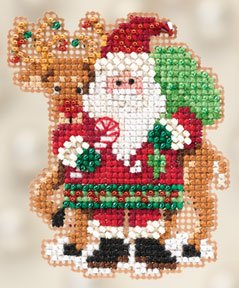 Ornament Series 2012 Winter Holiday - Santa and Rudolph