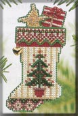 Mill Hill Bead Kit Holiday Stocking Ornaments - Evergreen Stocking THUMBNAIL