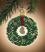 Mill Hill Christmas Jewels Charmed Ornaments - Emerald Wreath