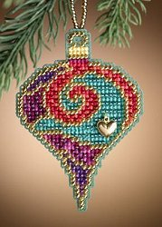 Mill Hill Christmas Jewels Charmed Ornaments - Garnet Spiral MAIN