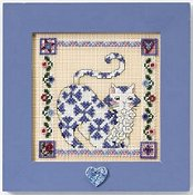 Jim Shore Quilted Cats - Sapphire THUMBNAIL