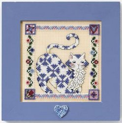 Jim Shore Quilted Cats - Sapphire MAIN