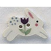 Mill Hill Button - 86319 White Leaping Bunny THUMBNAIL