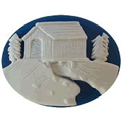 Kelmscott Designs Needle Minder - Winter Covered Bridge MAIN