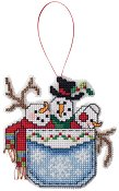 Ornament Chart - Snowmen In A Pocket THUMBNAIL