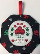 Octagonal Prefinished Christmas Ornament - Black Paws