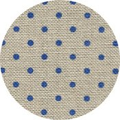 Belfast Linen 32ct Petit Point - Raw Natural w/ Blue Dots