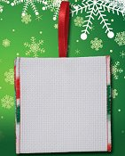 Banded Ornament - 14ct White Aida w/ Christmas Trim THUMBNAIL