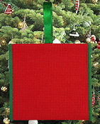 Banded Ornament - 14ct Red Aida w/ Green Trim THUMBNAIL