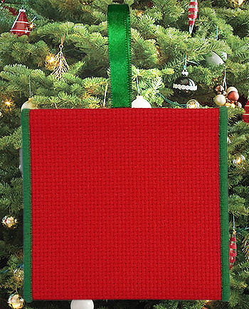 Banded Ornament - 14ct Red Aida w/ Green Trim MAIN