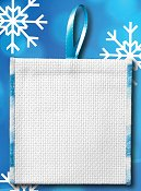 Banded Ornament - 14ct White Aida w/ Variegated Blue Trim THUMBNAIL
