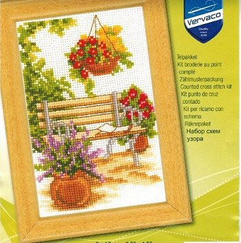 Vervaco Cross Stitch Kit - Flower Bench THUMBNAIL