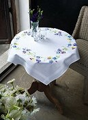 Vervaco Cross Stitch Kit - Pretty Pansies Table Cloth (Stamped) THUMBNAIL