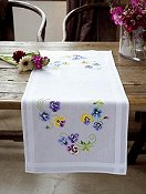 Vervaco Cross Stitch Kit - Pretty Pansies Table Runner (Stamped) THUMBNAIL