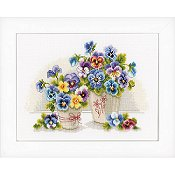 Vervaco Cross Stitch Kit - Pretty Pansies THUMBNAIL