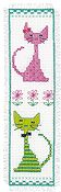 Vervaco Cross Stitch Kit - Pink & Green Cat Bookmark Kit
