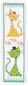 Vervaco Cross Stitch Kit - Yellow & Green Cat Bookmark Kit