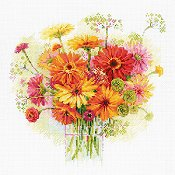 Riolis Cross Stitch - Watercolor Gerberas