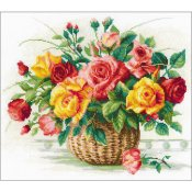 Riolis Cross Stitch - Basket With Roses