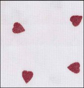 "Fabric Flair White with Red Glitter Hearts 28ct Evenweave 18"" x 27"" THUMBNAIL"