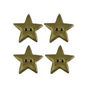 Button - Metallic Gold Star (Qty 4) THUMBNAIL