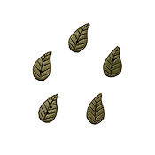 Button - Medium Dusty Green Leaf, Set of 5 THUMBNAIL