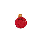 Button - Red Glitter Ornament w/ Gold Top THUMBNAIL
