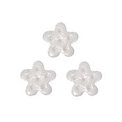 Button - White Glitter Snowflake, Medium - Set of 3 THUMBNAIL