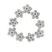 Button - White Glitter Snowflake, Extra Small - Set of 9 THUMBNAIL