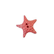 Button - Coral Starfish with Glitter, Medium THUMBNAIL
